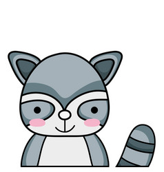 Adorable and happy raccoon wild animal vector