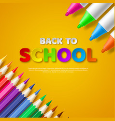 Back to school paper cut style letters with vector