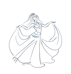 Belly dancer ink sketch gesture drawing vector