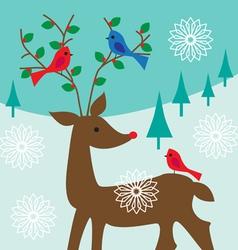 birds on antlers vector image