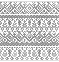 Black and white ethnic geometric floral seamless vector