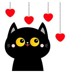 black cat looking at hanging red hearts yellow vector image