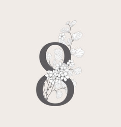Blooming floral number 8 monogram and logo vector