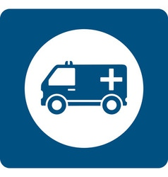 Blue medicine ambulance icon vector