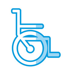Blue shading silhouette abstract wheelchair flat vector