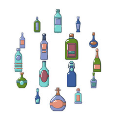 bottles icons set cartoon style vector image