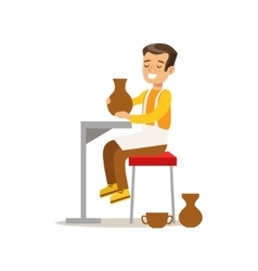 Boy Doing Pottery Creative Child Practicing Arts vector