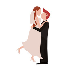 bride and fiance cartoon vector image