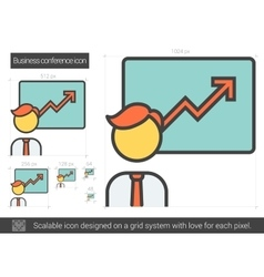 Business conference line icon vector