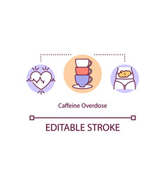 Caffeine overdose concept icon vector