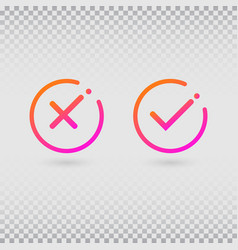 check marks set in modern gradient colors bright vector image
