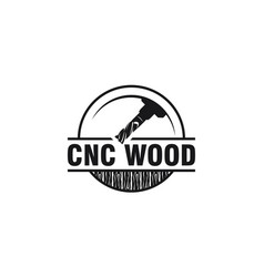 Cnc lathe wood logo design vector