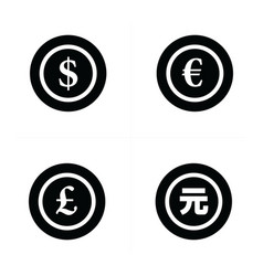 Coins icon dollars euro pound yuan vector