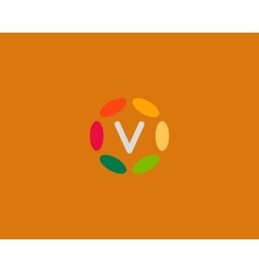 Color letter v logo icon design hub frame vector