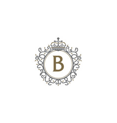 Crown leaf logo initial b vector