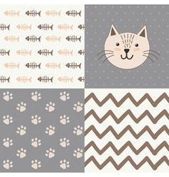 cute bashower pattern with a cat vector image