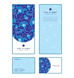 dark blue turkish floral vertical frame vector image