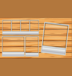 different shapes of picture frames on wooden board vector image