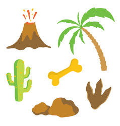 dinosaur footprint volcano palm tree bone and vector image