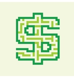Dollar business flat green maze vector image