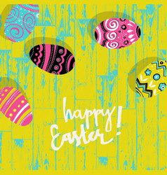 easter eggs on wooden board happy easter vector image