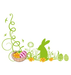 Easter meadow eggs bunny vector