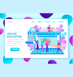 education courses flat web page template vector image