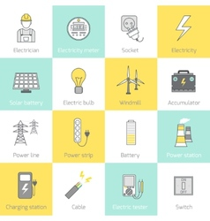 Electricity Icon Flat Line vector