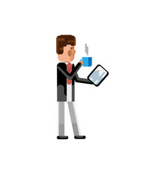 european businessman with tablet computer vector image
