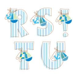 Fabric patchwork alphabet letters r s t u vector
