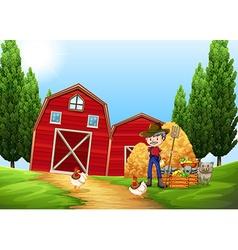 Farmer working in the farm outside vector