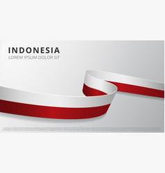 Flag indonesia realistic wavy ribbon vector