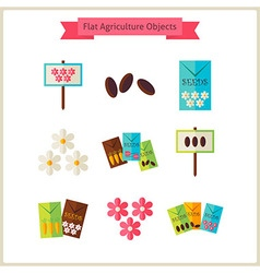 Flat Flower Agriculture Objects Set vector image