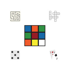 Flat icon entertainment set of guess cube vector