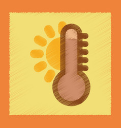 Flat shading style icon thermometer hot weather vector