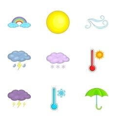Forecasting app icons set cartoon style vector image