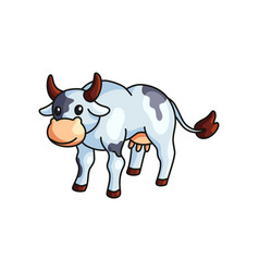 funny black and white spotted cow farm animal vector image