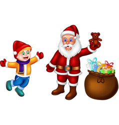 Funny boy and santa with gifts cartoon vector
