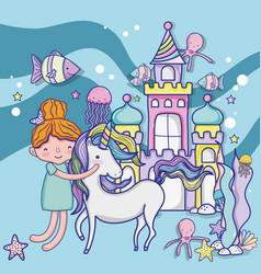girl and unicorn cute cartoons vector image