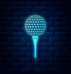 glowing neon golf ball on tee icon isolated on vector image