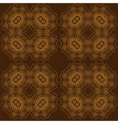 Golden abstract lace flowers on the brown vector image