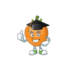 Graduation persimmon cartoon character isolated vector