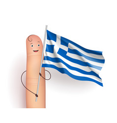 greece flag at finger man vector image vector image