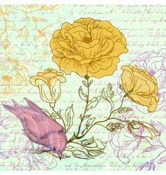 Grungy retro background with roses and bird vector image vector image