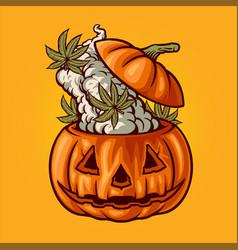 halloween pumpkin weed smoke marijuana vector image