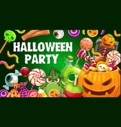 Halloween trick or treat candies jellies pumpkin vector