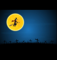 halloween witch flying on broom vector image
