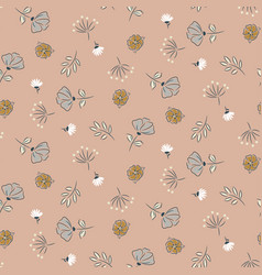 hand drawn cute flowers blush pastel colors vector image