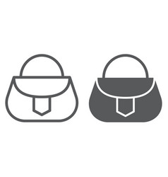 handbag line and glyph icon fashion and female vector image