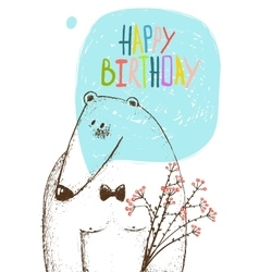 Happy Birthday Bear Greeting Card with Flowers vector image